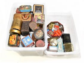 Approximately forty vintage tins including OXO, Stotherts Atherton Pills, Sullivan Powell Oriental