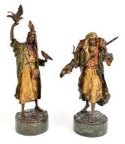 FRANZ XAVER BERGMANN (1861-1936); a fine pair of late 19th century Austrian cold painted bronzes