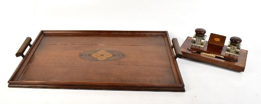 An Edwardian inlaid mahogany desk stand with two detachable inkwells, length 28cm, a Parker fountain