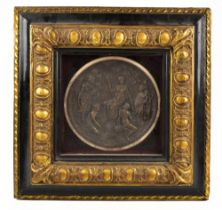 AFTER THE ANTIQUE; a modern bronzed plaque depicting a classical scene, in an ebonised and gilt