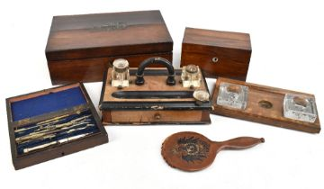 A 19th century brass bound rosewood writing slope (af), length 35.5cm, together with a rosewood