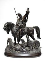 ARTHUR WAAGEN (German, 1833-1898); a monumental bronze, 'Kabyle Au Retour De La Chasse (The Berber