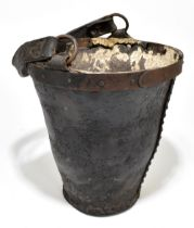A 19th century leather fire bucket with swing handle with metal rim and studded detail, height