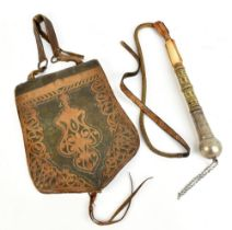 WILLIAM FREDERICK CODY 'BUFFALO BILL'; a bull whip and leather saddle back gifted by Buffalo Bill to