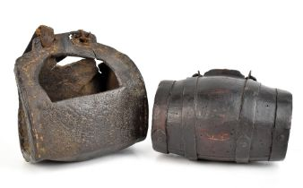 An 19th century leather bucket, with strap, length 19cm, together with a metal bound costrel, length