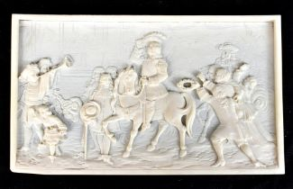 A late 19th century carved ivory plaque of rectangular form with carved detail in the 17th century-