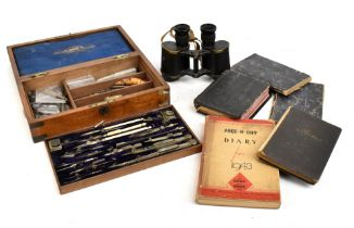 A group of collectors' items to include a walnut cased set of drawing implements, a pair of