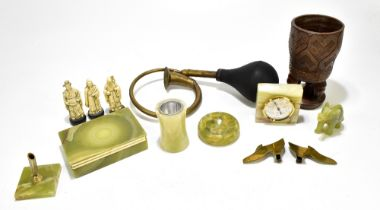 A group of collectors' items to include a brass car horn, various onyx items to include a