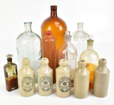 A collection of assorted poison bottles and ginger beers to include three examples by Leigh & Co