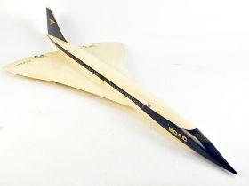 A 1970s BOAC fibreglass model of Concorde, length 116cm, wingspan 52cm.Additional InformationOne