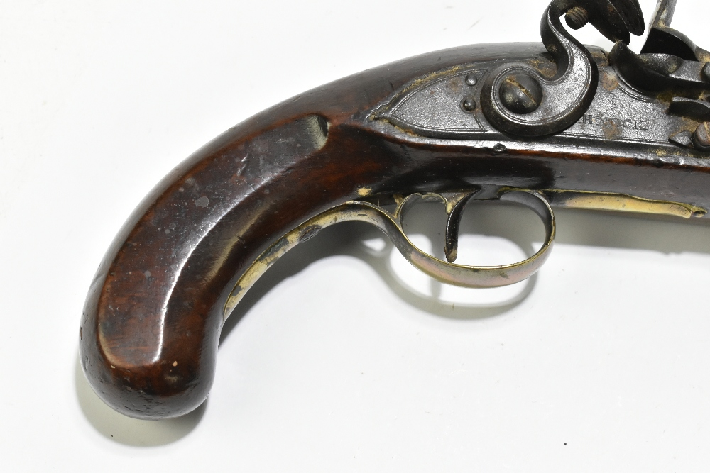 """H. KNOCK; a 19th century flintlock pistol with 9"""" barrel indistinctly stamped with various proof - Image 5 of 11"""