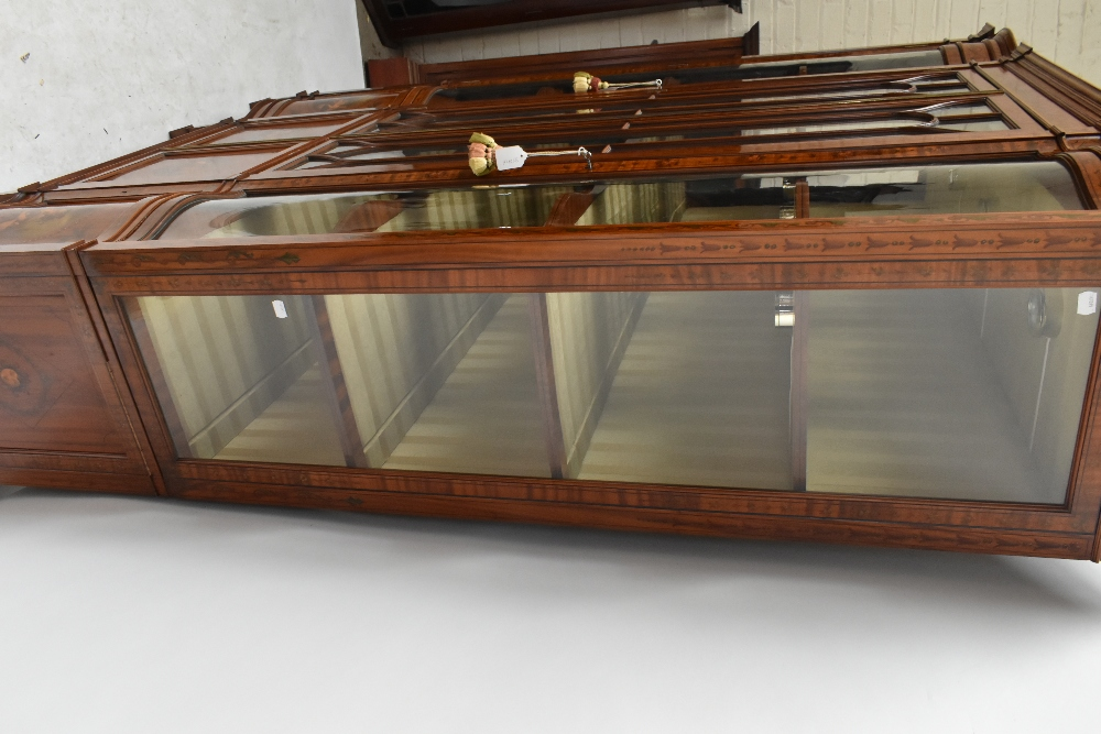 A fine late Victorian satinwood painted display cabinet with moulded cornice, serpentine side glazed - Image 7 of 8