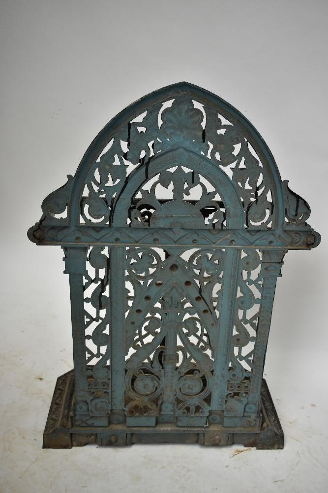 FALKIRK; a 19th century umbrella/stick stand with cast floral decoration and central section, with - Image 4 of 5