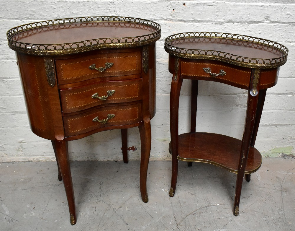 Two reproduction French style kidney shaped side tables, each with brass galleried top, the larger