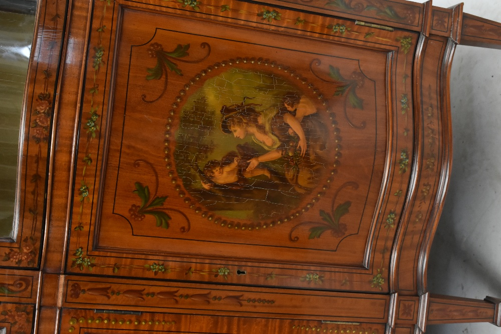 A fine late Victorian satinwood painted display cabinet with moulded cornice, serpentine side glazed - Image 5 of 8