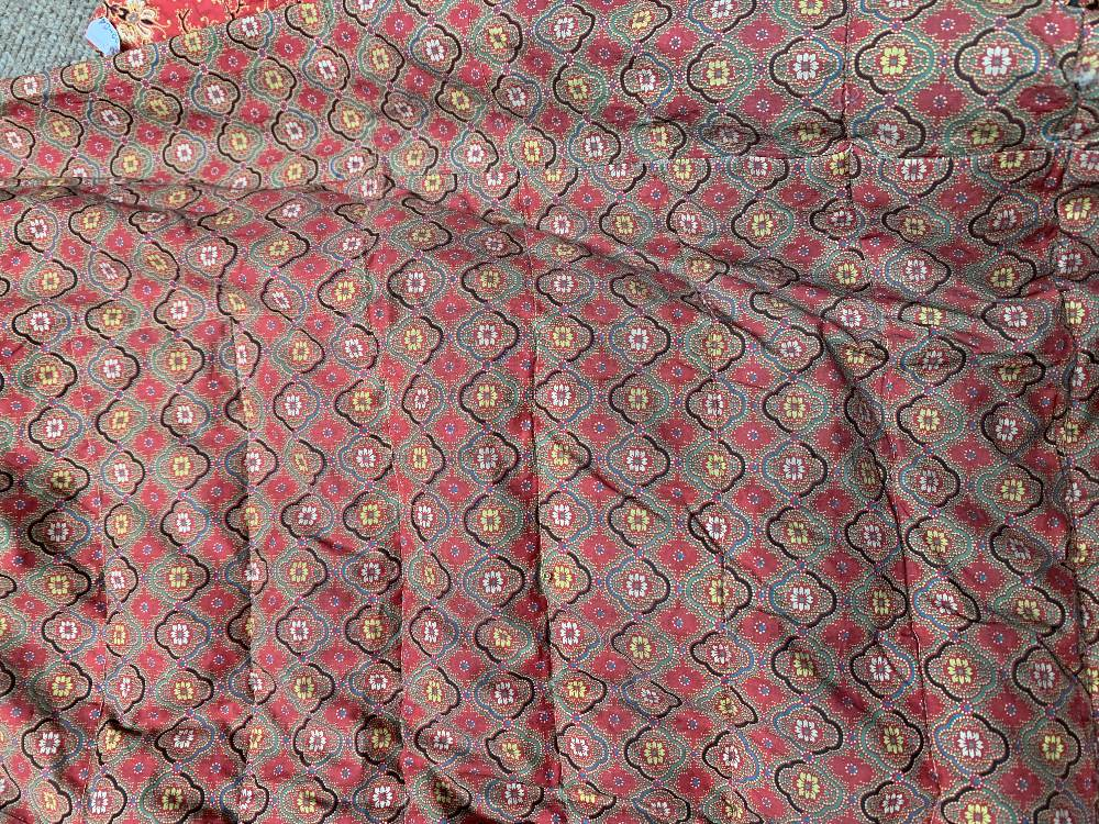 Two late Victorian quilted underskirts/winter petticoats, one decorated with a floral design against - Image 7 of 10