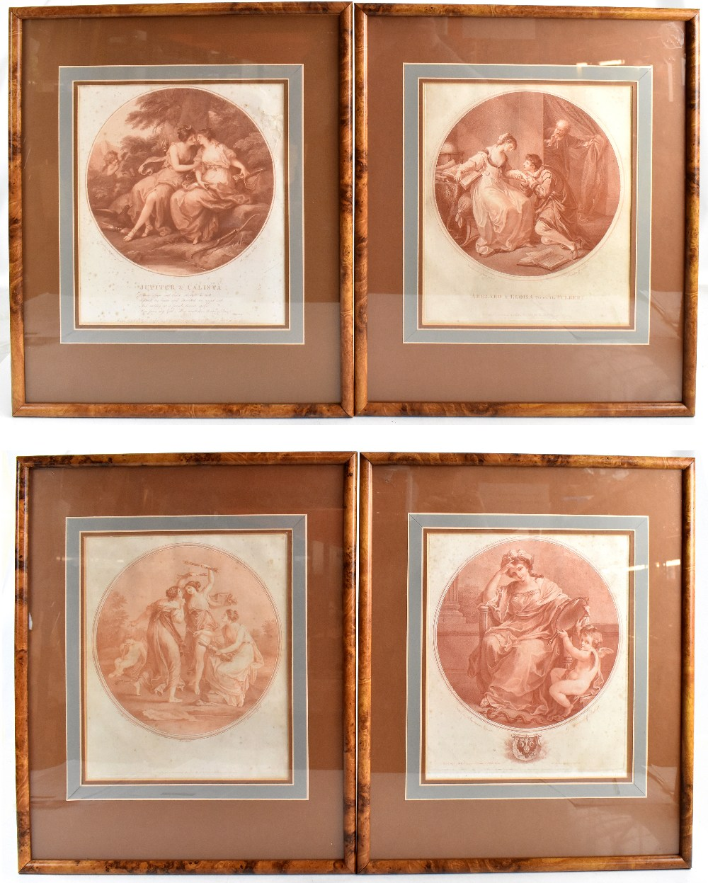 AFTER ANGELICA KAUFFMAN; four late 18th century sepia engravings comprising 'Abelard & Eloise', '