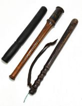 Three Police truncheons including a George IV example further inscribed 'H.N.38', length 44.5cm, a