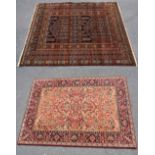 A machine woven wool rug decorated with geometric panels within border stripes, 232 x 126cm,