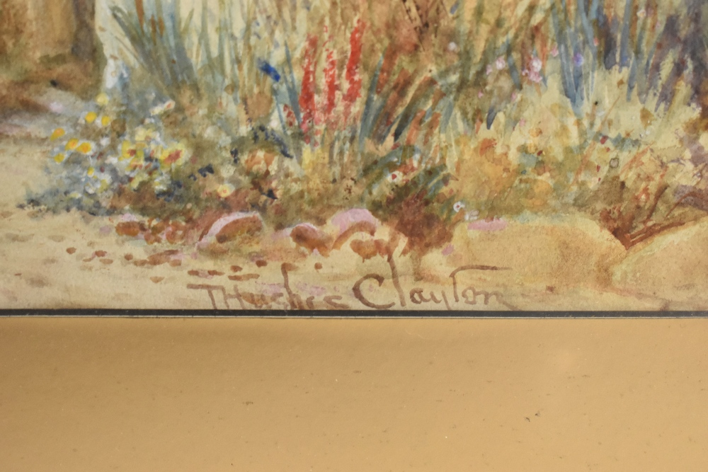 JOSEPH HUGHES CLAYTON (active 1891-1929); watercolour, figures beside cottages, Anglesey, signed - Image 2 of 3