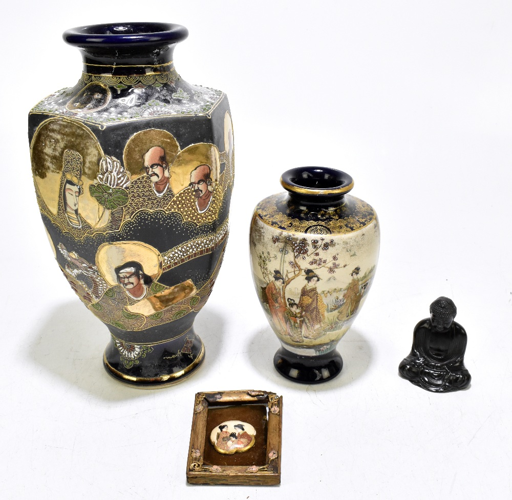A Japanese Meiji period Satsuma vase of shouldered form decorated with Geishas within mountainous