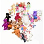 Six Barbie and Cindy dolls and a group of clothing/accessories and twelve TY bennie babies