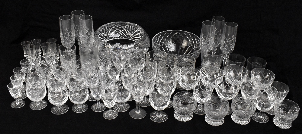 A collection of assorted cut and moulded glassware to include Royal Brierley.Additional