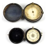 A brass cased pocket thermometer with silvered dial, diameter 47mm, fitted in original circular