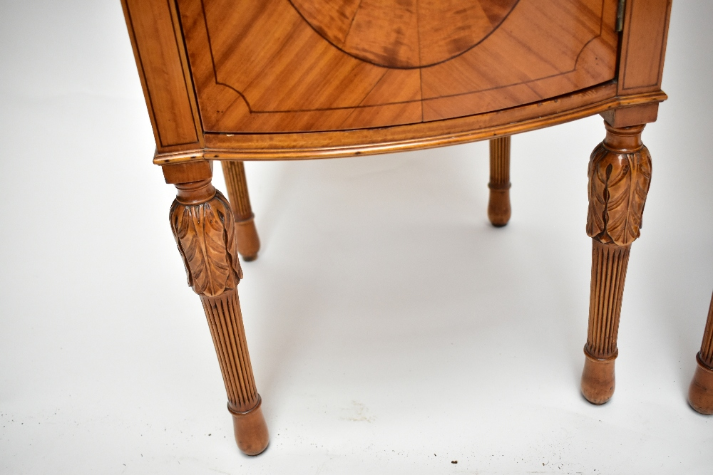 A pair ofEdwardian Sheraton Revival painted satinwood bowfront bedside cabinets, with raised - Image 6 of 13