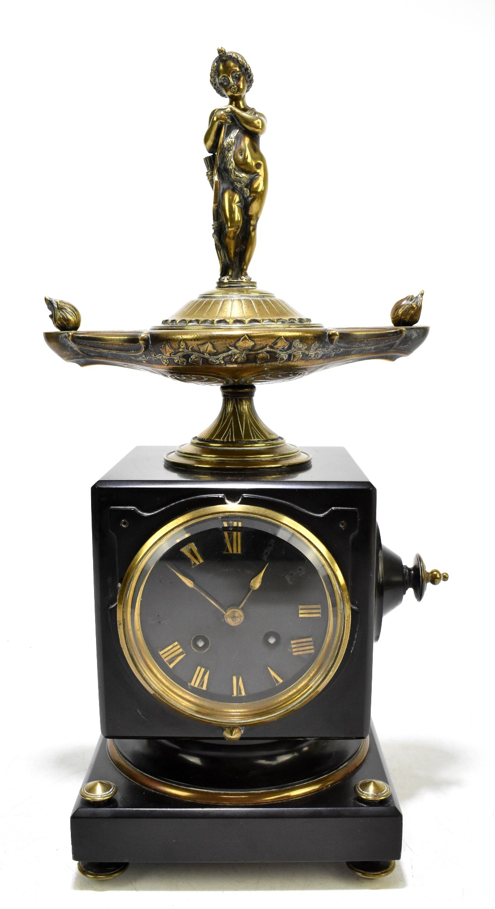 A French Victorian black slate and gilt brass mantel clock, of square form, with gilt brass surmount
