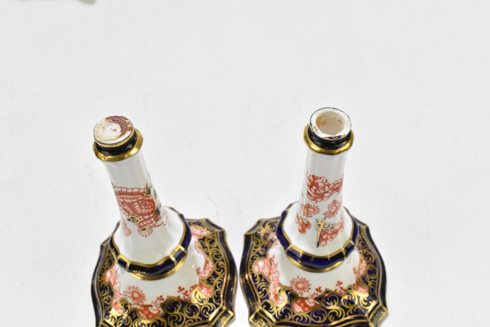 ROYAL CROWN DERBY; a twin handled vase with floral detail, decorated in the 5590 pattern, together - Image 7 of 11