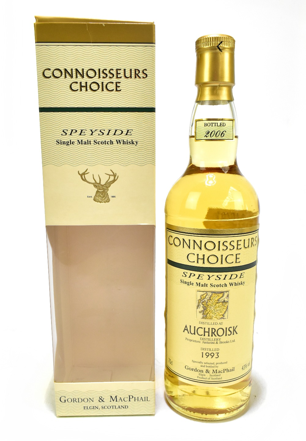 WHISKY; a single bottle of Auchroisk Speyside single malt Scotch whisky, distilled 1993 and