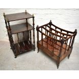 A 19th century rosewood Canterbury, with four division undertier section and brass finials, height