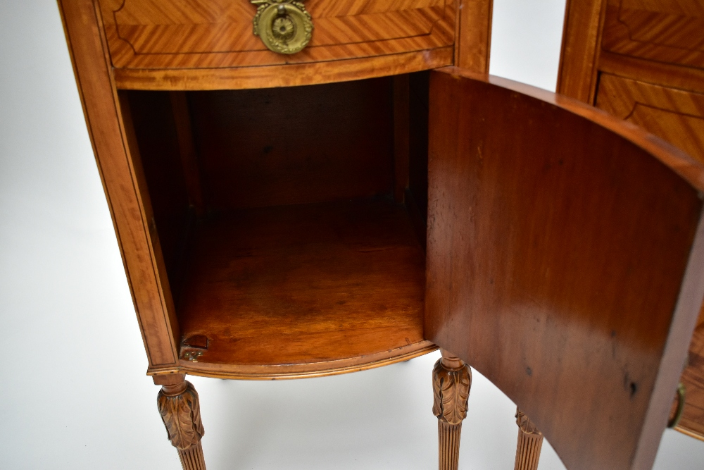A pair ofEdwardian Sheraton Revival painted satinwood bowfront bedside cabinets, with raised - Image 8 of 13
