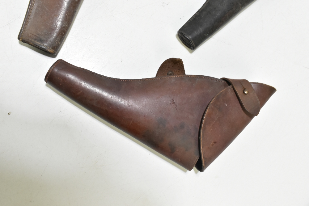 Five leather pistol holsters (5). Provenance: The Captain Allan Marshall Collection.Additional - Image 5 of 6