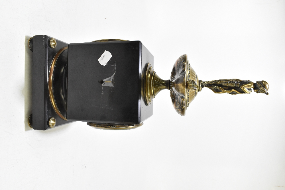 A French Victorian black slate and gilt brass mantel clock, of square form, with gilt brass surmount - Image 3 of 6