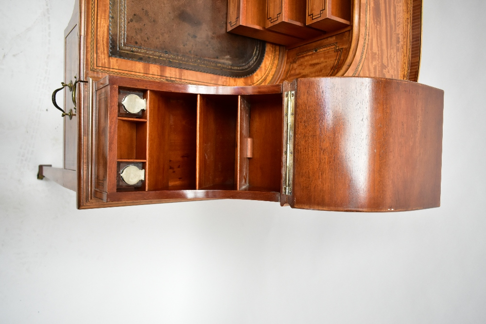 MAPLE & CO; a c.1900 satinwood and inlaid Carlton House desk by Raphael Lalli, the raised back - Image 3 of 16