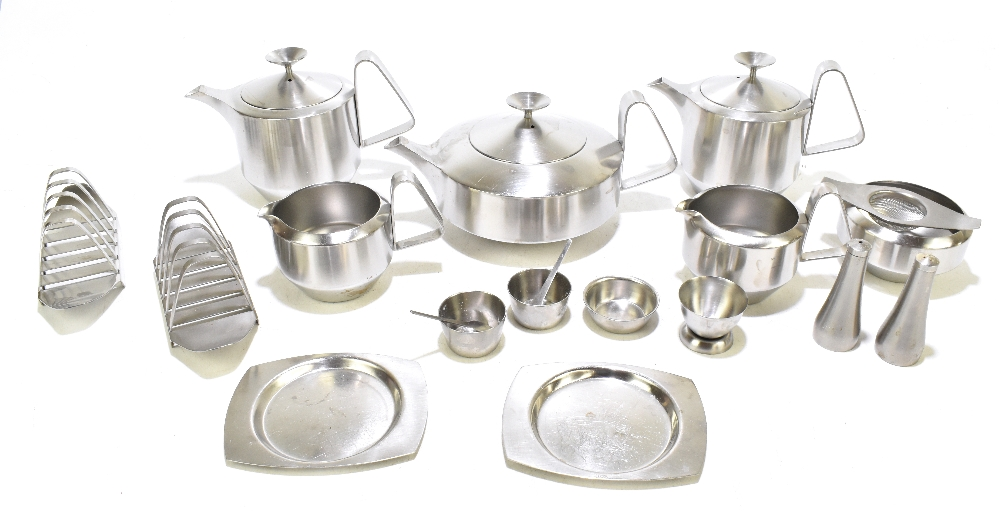 ROBERT WELCH; an Old Hall stainless steel nine piece part breakfast set comprising teapot, two hot