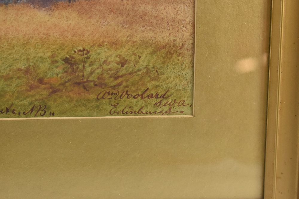 WILLIAM WOOLARD (Scottish fl. 1883-1908); watercolour, 'Evening Kingarth Church, Kinchattan Bay, - Image 2 of 4