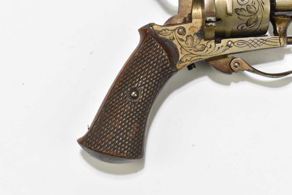 A Belgian pinfire double action revolver with folding trigger, simple engraving and checkered walnut - Image 6 of 8
