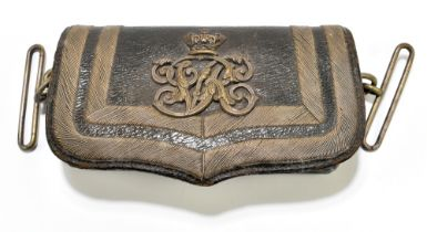 A Victorian leather and bullion work dispatch pouch with applied VR Royal cipher, length 15.5cm.