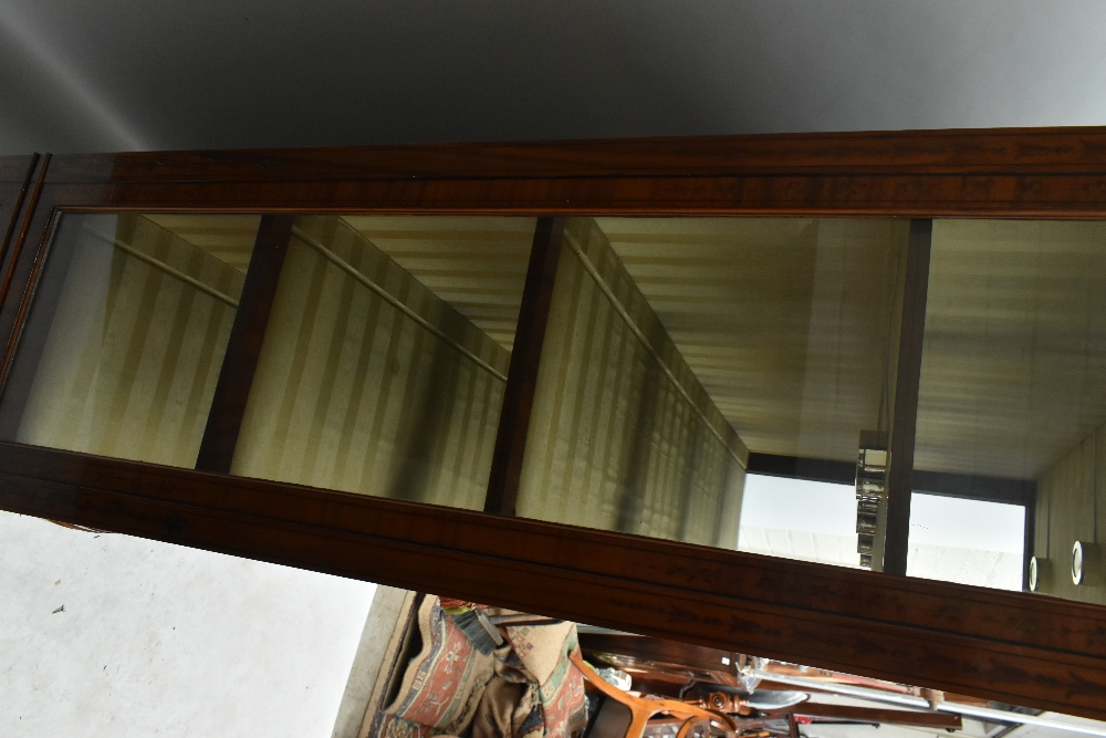 A fine late Victorian satinwood painted display cabinet with moulded cornice, serpentine side glazed - Image 6 of 8