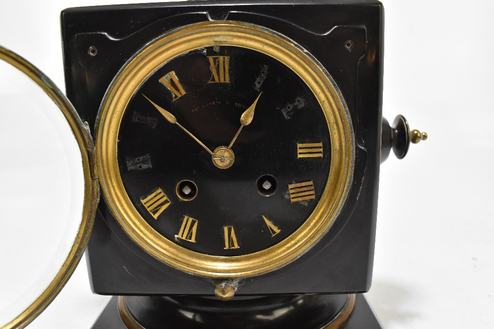 A French Victorian black slate and gilt brass mantel clock, of square form, with gilt brass surmount - Image 2 of 6