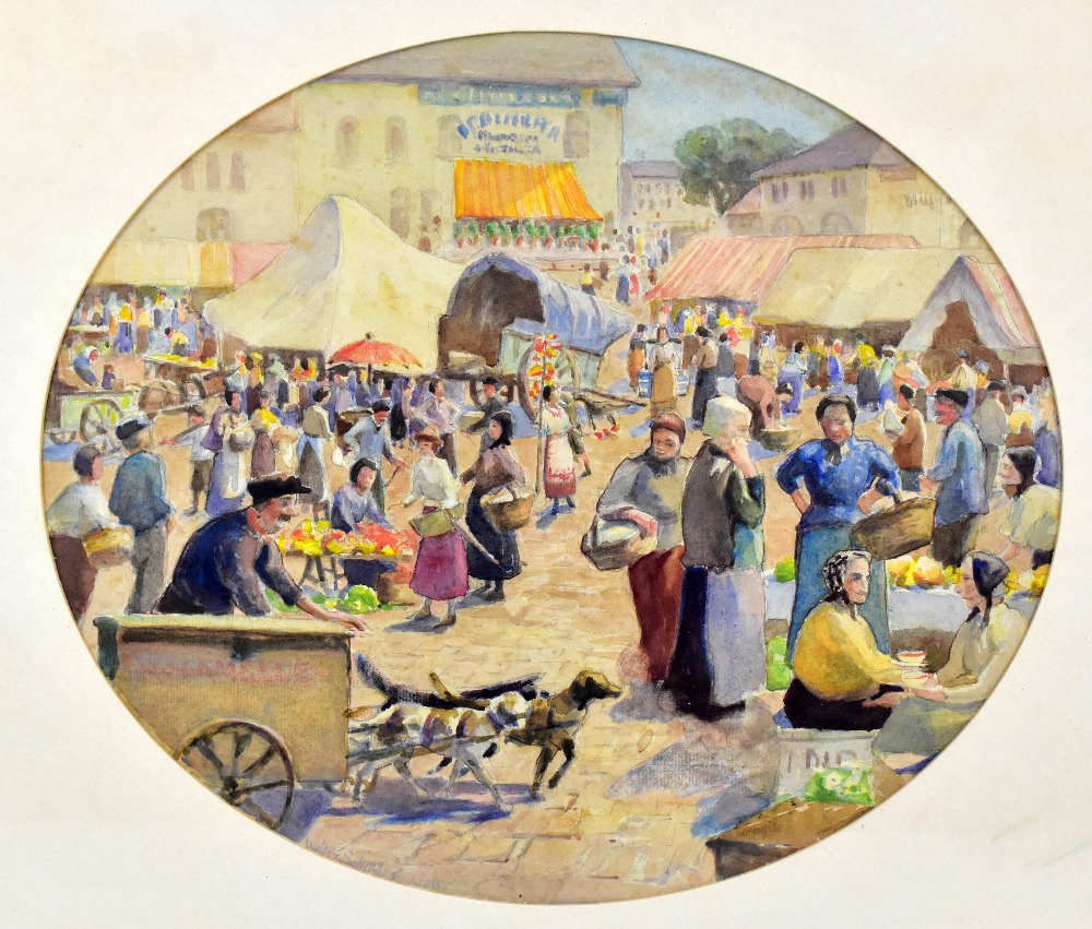 WALTER SCHROEDER (ac. 1885-1932); oval watercolour, market scene, signed and dated 1928, 30 x 36cm. - Image 2 of 4