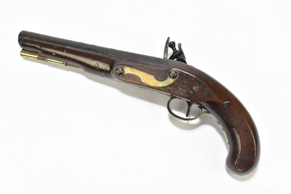 """H. KNOCK; a 19th century flintlock pistol with 9"""" barrel indistinctly stamped with various proof - Image 6 of 11"""