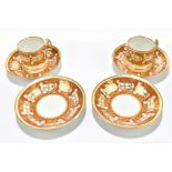 Two early 19th century Barr, Flight & Flight coffee cans and four Barr, Flight & Barr saucers,