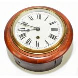 """A late 19th/early 20th century wall clock, the 7"""" dial set with Roman numerals, total diameter"""