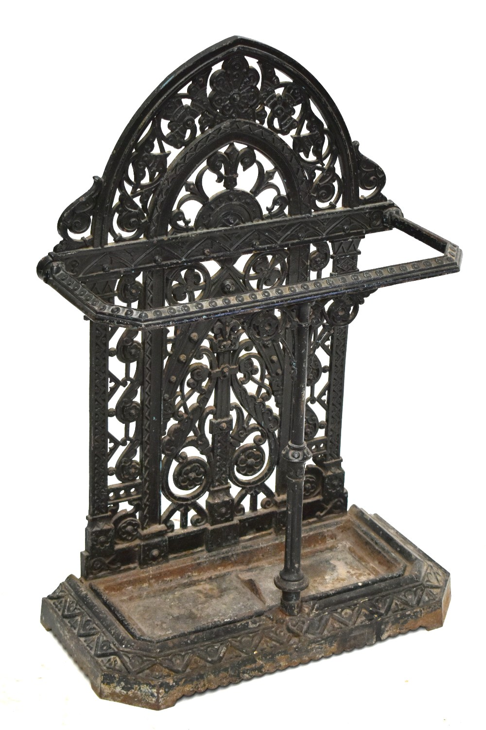 FALKIRK; a 19th century umbrella/stick stand with cast floral decoration and central section, with