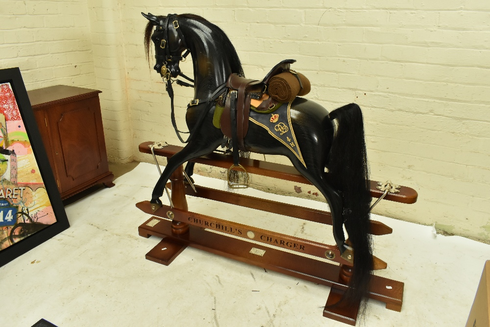 STEVENSON BROTHERS; a good and rare 'Churchill's Charger' rocking horse, in English oak with - Image 2 of 11