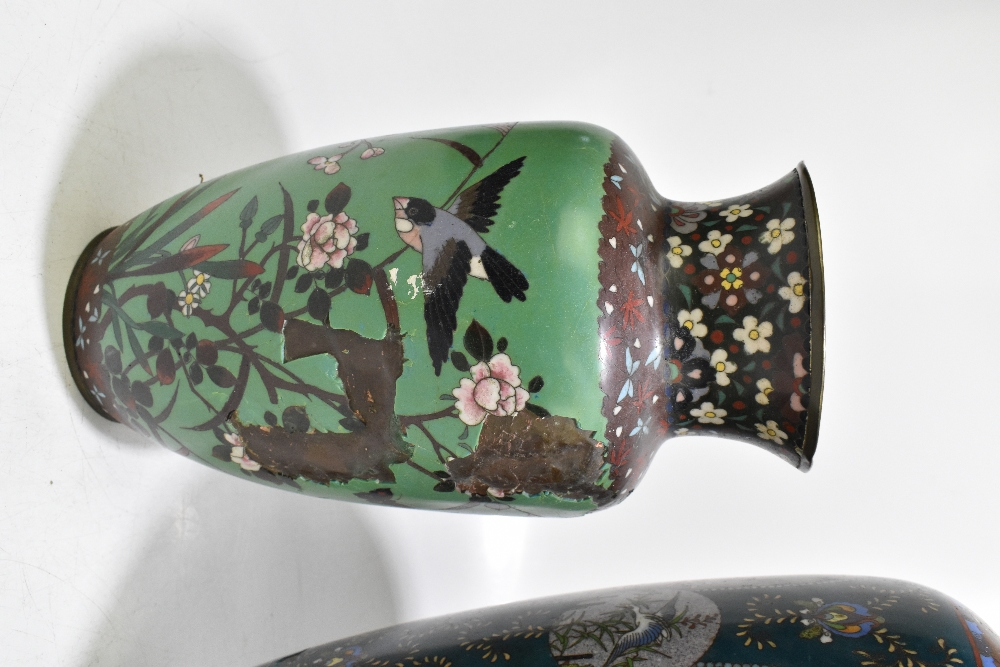A large and impressive Japanese cloisonne vase of ovoid form, decorated with exotic birds and prunus - Image 2 of 9